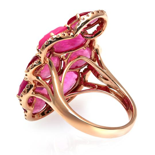 Luxo Jewelry Fancy Rose Cut Multi Pink Sapphires & Diamonds 14K Rose Gold Ring 7 Image 2