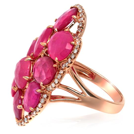 Luxo Jewelry Fancy Rose Cut Multi Pink Sapphires & Diamonds 14K Rose Gold Ring 7 Image 3