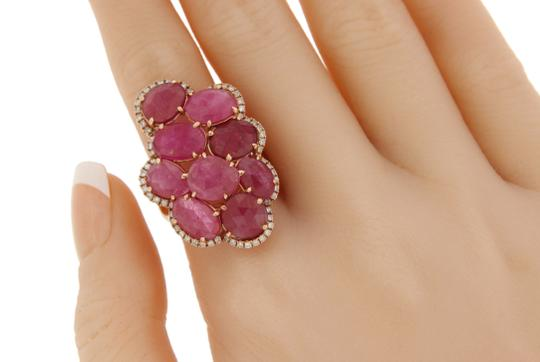 Luxo Jewelry Fancy Rose Cut Multi Pink Sapphires & Diamonds 14K Rose Gold Ring 7 Image 4