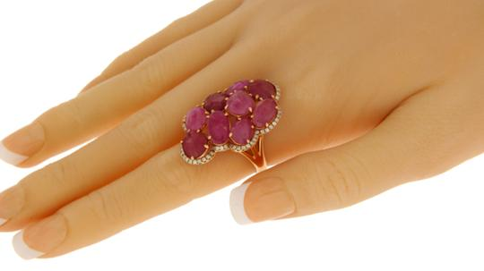 Luxo Jewelry Fancy Rose Cut Multi Pink Sapphires & Diamonds 14K Rose Gold Ring 7 Image 5