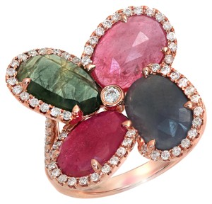 Luxo Jewelry Four Leaf Rose Cut Multicolor Sapphires & Diamonds 14K Rose Gold Ring