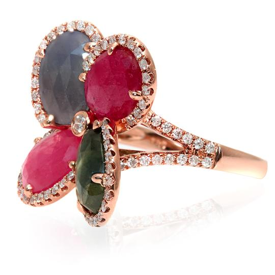 Luxo Jewelry Four Leaf Rose Cut Multicolor Sapphires & Diamonds 14K Rose Gold Ring Image 1