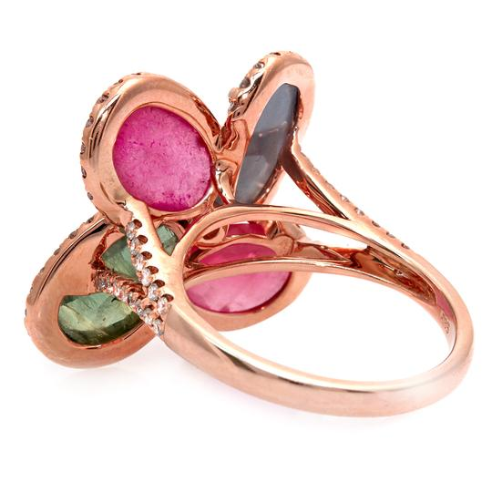 Luxo Jewelry Four Leaf Rose Cut Multicolor Sapphires & Diamonds 14K Rose Gold Ring Image 2