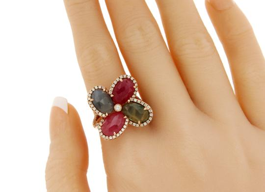 Luxo Jewelry Four Leaf Rose Cut Multicolor Sapphires & Diamonds 14K Rose Gold Ring Image 3
