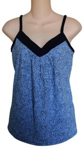 New York & Company Camisole Polka Dot Top LITTLE BLACK DOTS on BLUE