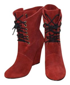 Betsey Johnson Suede Funky Boho Red Boots