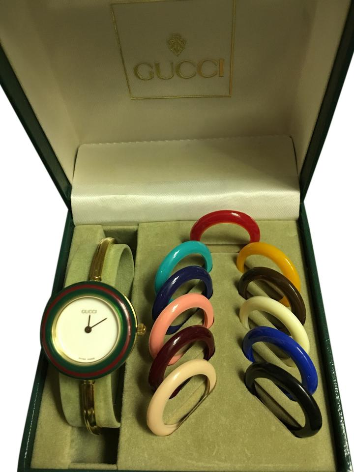 d7a1e6a37be Gucci Gucci Vintage Gold Tone Interchangeable Round Face Bangle Watch Image  0 ...