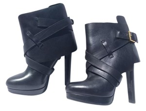 Alexander McQueen Fold Over Leather Black Boots