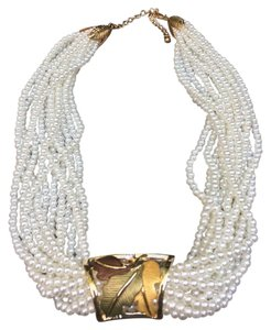 Kenneth Jay Lane NEW! 22K Plated Multi Stand Pearl Necklace