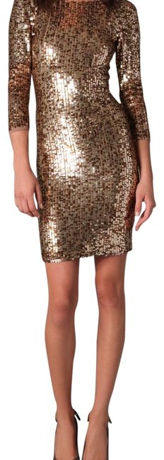 Item - Gold Sequin Style # C108605531 Short Night Out Dress Size 2 (XS)