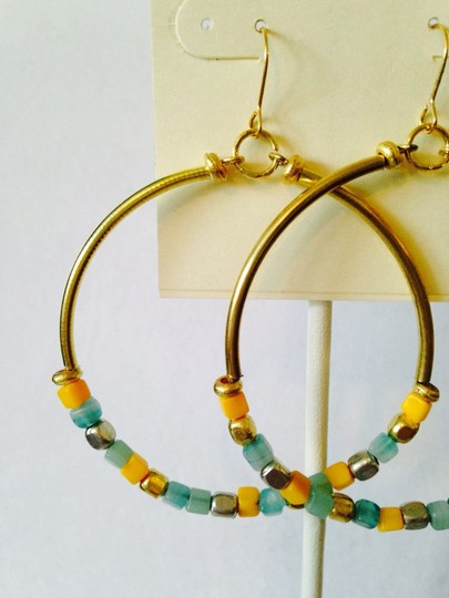 Kenneth Cole Kenneth Cole Gold-Tone Turquoise & Yellow Mixed Bead Gypsy Hoop Earrings Only! Matching Pieces Sold Seperately.