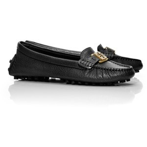 Tory Burch Driving Moccasins Leather Loafers black Flats