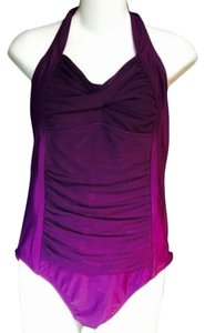 MERONA SWIMSUIT L NWT MERONA PURPLE FULLY LINED MESH FRONT DRAPED & SHIRRED