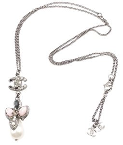Chanel Chanel Ruthenium CC Pink Butterfly Pearl Pendant Necklace