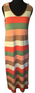 Orange/Green/Brown/Light Yellow Maxi Dress by Rouge Collection