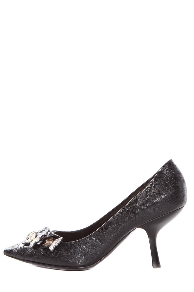 Bottega Kitten Veneta Black Embossed Leather Kitten Bottega Heels Pumps 156925