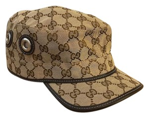 Gucci Gucci Beige Brown Monogram Canvas Military Hat