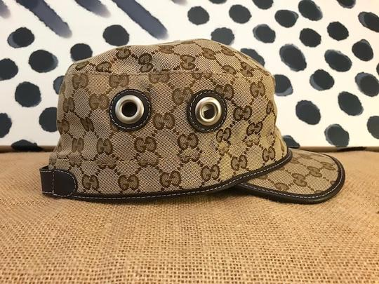 Gucci Gucci Beige Brown Monogram Canvas Military Hat Image 1