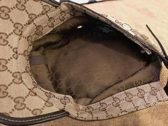 Gucci Gucci Beige Brown Monogram Canvas Military Hat Image 3