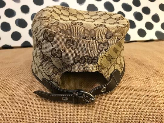 Gucci Gucci Beige Brown Monogram Canvas Military Hat Image 4