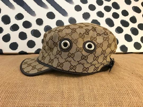 Gucci Gucci Beige Brown Monogram Canvas Military Hat Image 6