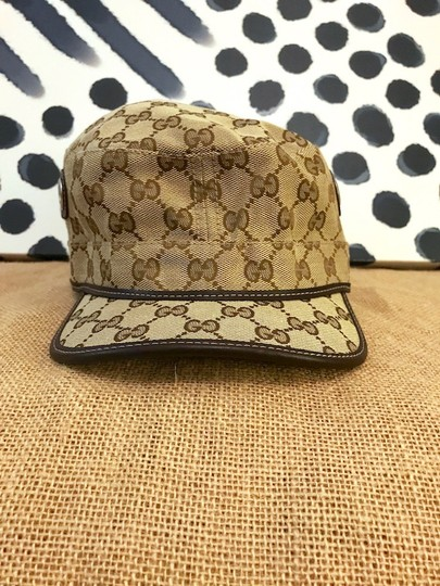 Gucci Gucci Beige Brown Monogram Canvas Military Hat Image 7