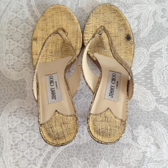 Jimmy Choo gold/ black Sandals