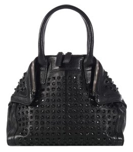 Alexander McQueen Spikes Am.l0130.07 Studded Foldover Leather Tote in black