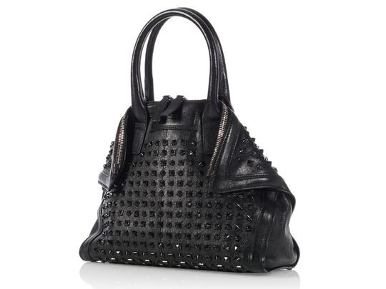 Alexander McQueen Spikes Am.l0130.07 Studded Foldover Leather Tote in black Image 1
