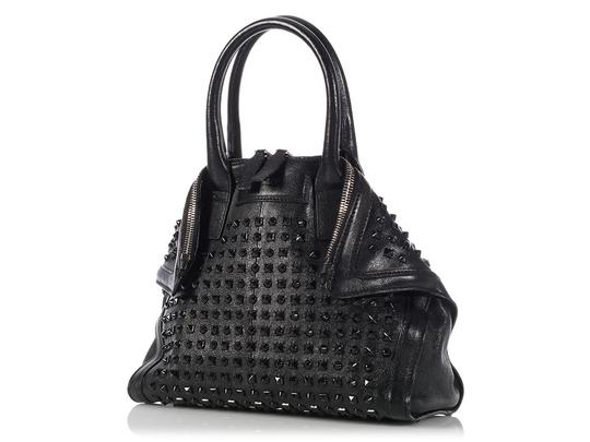 Alexander McQueen Spikes Am.l0130.07 Studded Foldover Leather Tote in black Image 2