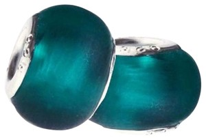 Smart_Brands SET OF 5 European Style Murano Lampwork glass Beads, Emerald Green Beads. 4mm hole.