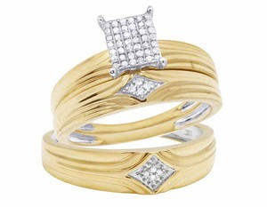 Jewelry Unlimited 10K Yellow Gold Genuine Pave Diamond Square Trio Ring Set 1/10 Ct