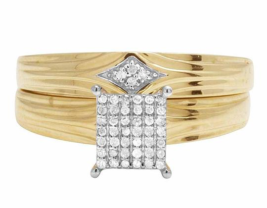 Jewelry Unlimited 10K Yellow Gold Genuine Pave Diamond Square Trio Ring Set 1/10 Ct Image 2