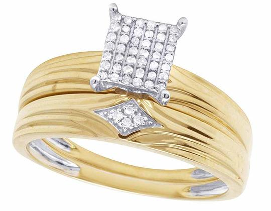 Jewelry Unlimited 10K Yellow Gold Genuine Pave Diamond Square Trio Ring Set 1/10 Ct Image 3