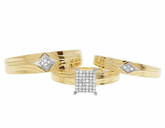 Jewelry Unlimited 10K Yellow Gold Genuine Pave Diamond Square Trio Ring Set 1/10 Ct Image 4
