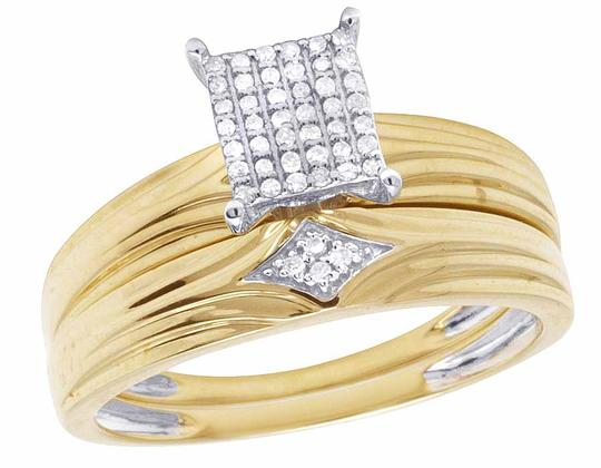 Jewelry Unlimited 10K Yellow Gold Genuine Pave Diamond Square Trio Ring Set 1/10 Ct Image 5