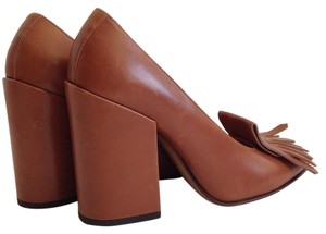 Dries van Noten Front Fringe Chunky Heel Brown Pumps