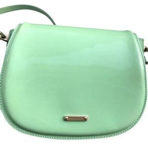 Burberry Prorsum Mint Green Flip Patent Leather Pastel Green Cross Body Bag
