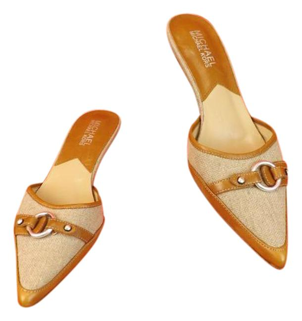 Item - Beige Chamois Leather Linen Point Toe Mules/Slides Size US 5.5 Regular (M, B)