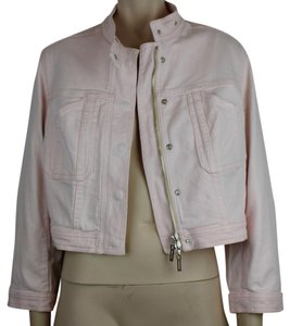 CHRISTIAN DIOR Denim Cropped Silver PINK Womens Jean Jacket