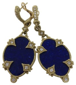 Judith Ripka 18 K yellow gold and lapis earrings