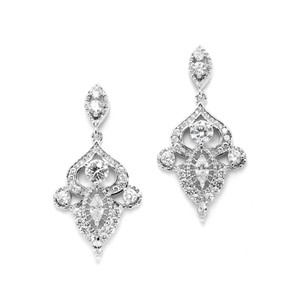 Mariell Intricate 1920's Art Deco Motif A A A A A Crystals Bridal Earrings