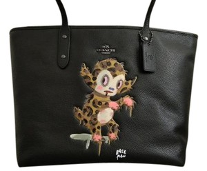Coach Limited Edition X Baseman Monster Rare Leather Tote in black