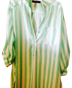 Modcloth Button Down Shirt white and sea foam green