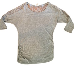 Ambiance Apparel Lace T Shirt Gray