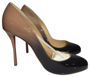 Christian Louboutin Patent Rare Round Toe Nude Ombre Pumps