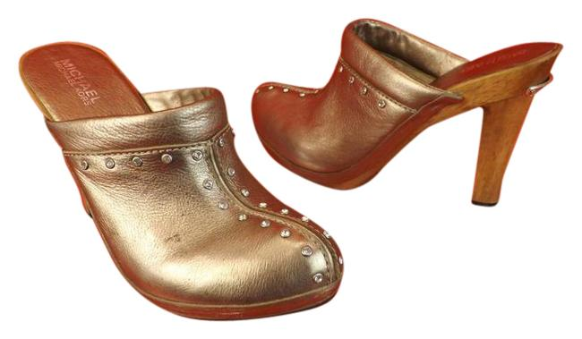 Item - Gold Leather Rhinestone Astor Mules/Slides Size EU 37 (Approx. US 7) Regular (M, B)