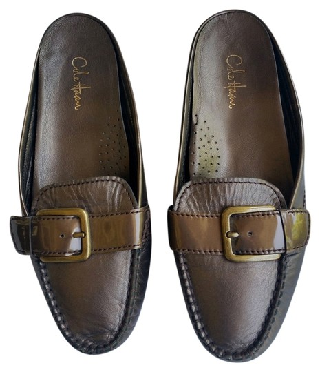 Cole Haan Leather Flats Bronze Mules