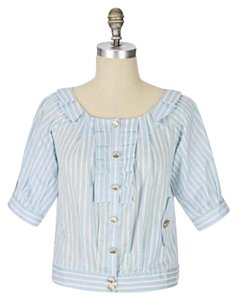 Leifsdottir Button Down Shirt Blue and White