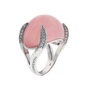 Chimento Chimento Elsir pave diamond & rose quartz ring in 18k white gold.